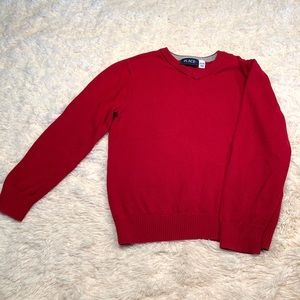 Boys Size 7/8 red sweater, like new